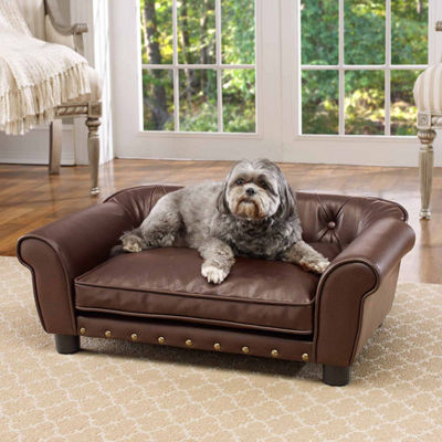 Enchanted Home Brisbane Tufted Pet Sofa in PebbleBrown