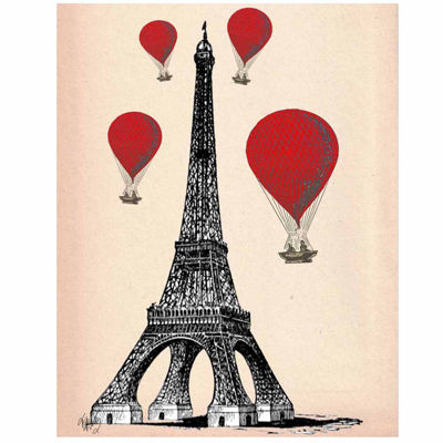 Eiffel Tower and Red Hot Air Balloons Canvas WallArt