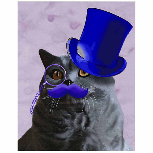 Grey Cat With Blue Top Hat and Moustache Canvas Wall Art