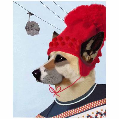 Dog in Ski Sweater Canvas Wall Art