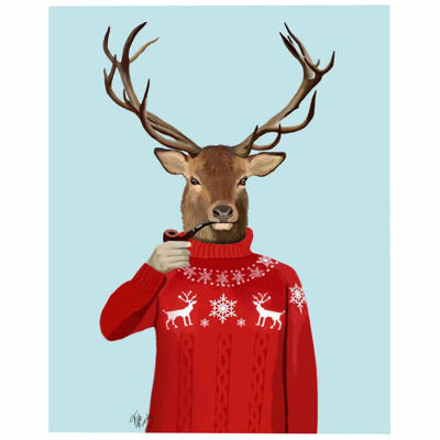Deer in Ski Sweater Canvas Wall Art