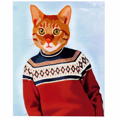Cat in Ski Sweater Canvas Wall Art