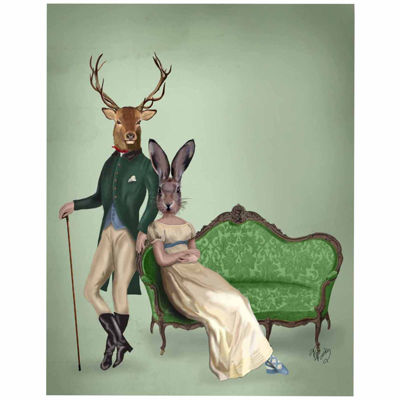 Mr Deer and Mrs Rabbit Canvas Wall Art