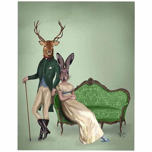 Mr Deer and Mrs Rabbit Canvas Wall Art