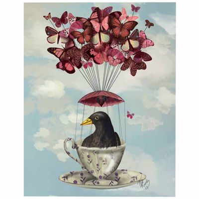 Blackbird In Teacup Canvas Wall Art