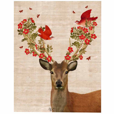 Deer and Love Birds Canvas Wall Art