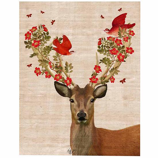 Deer and Love Birds Canvas Wall Art