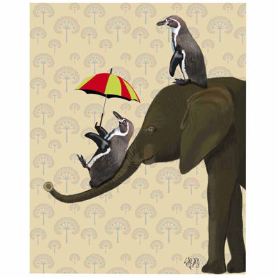 Penguin and elephant Canvas Wall Art