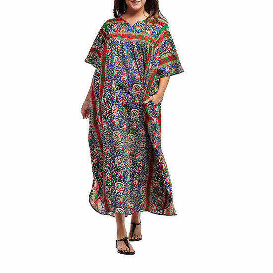 La Cera 100% Cotton Printed Caftan