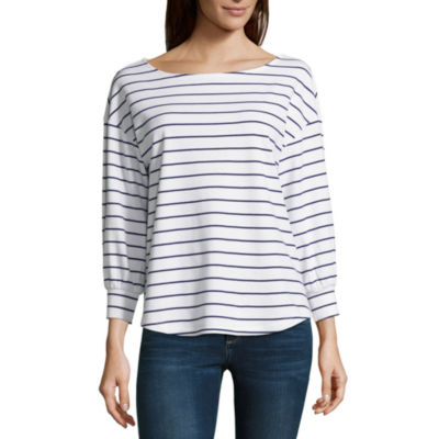 Liz Claiborne 3/4 Sleeve Boat Neck Blouse - Tall