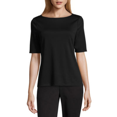 Worthington Elbow Sleeve Crew Neck T-Shirt-Womens Tall