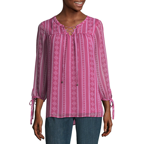 St. John's Bay 3/4 Sleeve Split Neck Blouse - Tall