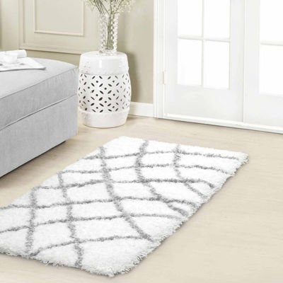 Vista Living Diamond Chunky Shag Rectangular Accent Rug