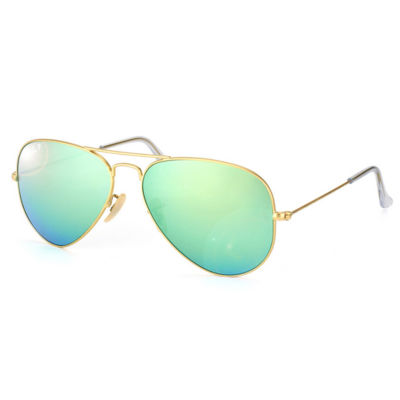 Ray-Ban Sunglasses - Rb3025 Aviator Large Metal /Frame: Matte Gold Lens: Green Mirror Polarized (58Mm)
