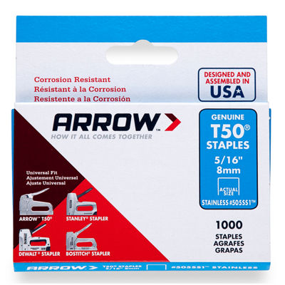 "Arrow Fastener 505Ss1 5/16"" T50 Stainless Steel Staples"""