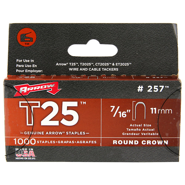 "Arrow Fastener 257M 7/16"" T25 Staple 1000 Count"""