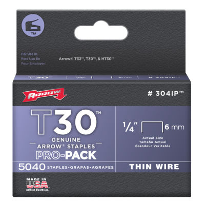 Arrow Fastener 304Ip 1/4IN T30 Staples