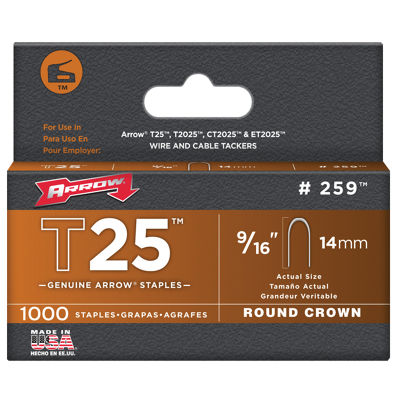 Arrow Fastener 259M 9/16IN T25 Staples 1000 Count