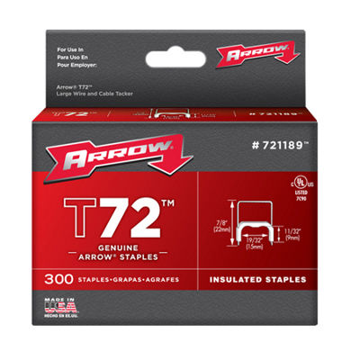 "Arrow Fastener 721189 19/32"" T72 Insulated Staples"""