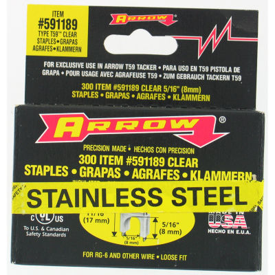 Arrow Fastener 591189Ss 5/16IN X 5/16IN Black T59Stainless Steel Staples