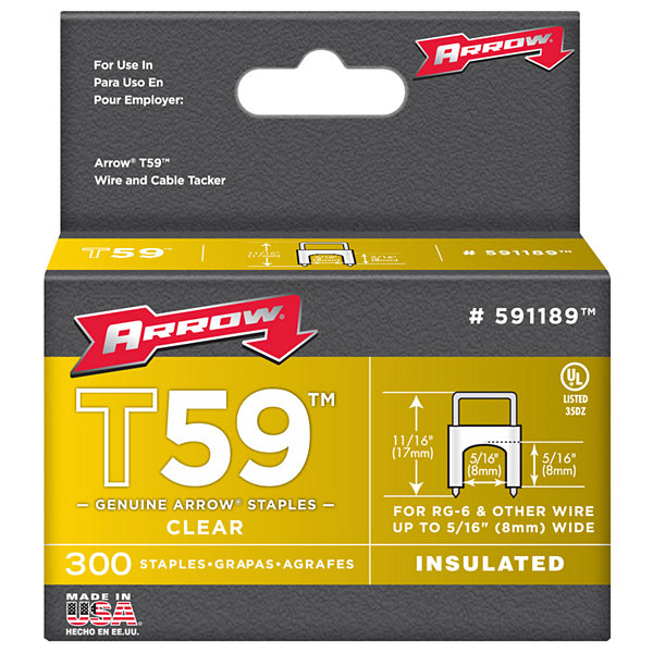 Arrow Fastener 591189 5/16IN X 5/16IN Clear T59 Staples