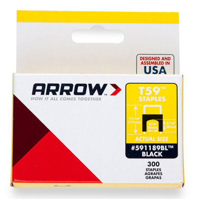 Arrow Fastener 591168Bl 1/4IN X 1/4IN Black T59 Staples