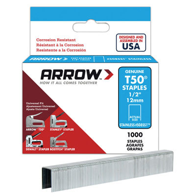 Arrow Fastener 508Ss1 1/2IN T50 Stainless Steel Staples