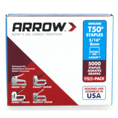 Arrow Fastener 505Ip 5/16IN T50 Staples 5000 Count
