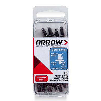 Arrow Fastener RSST5/32 5/32IN Short Stainless Steel Rivets 15 Pack