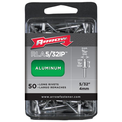 "Arrow Fastener RLA5/32IP 5/32"" Long Aluminum Rivets 50 Count"""