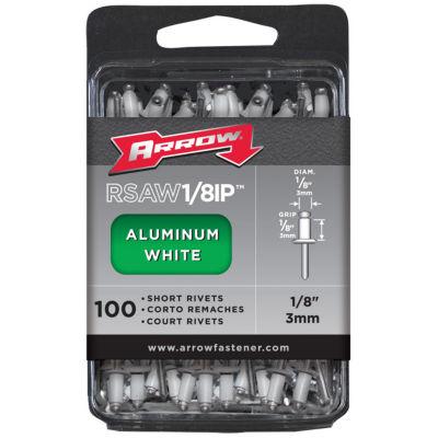 "Arrow Fastener RSAW1/8IP White 1/8"" Short Aluminum Rivets 100 Count"