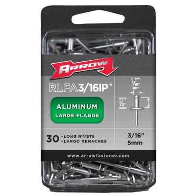 Arrow Fastener RLFA3/16IP 3/16IN Large Flange Aluminum Rivets 30 Count