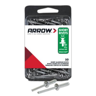 Arrow Fastener RSA3/16IP 3/16IN Short Aluminum Rivets 50 Count