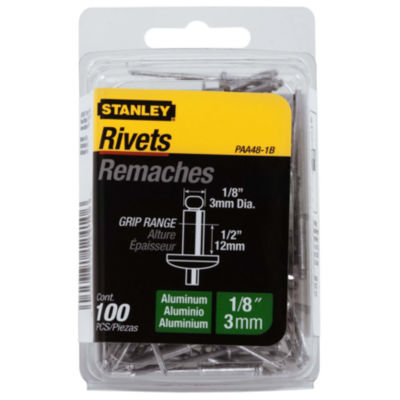 "Stanley Hand Tools Paa48-1B 1/8"" X 1/2"" Aluminum Rivets 100 Count"""
