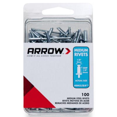 "Arrow Fastener RMS1/8IP 1/8"" Medium Steel Rivets 100 Count"""