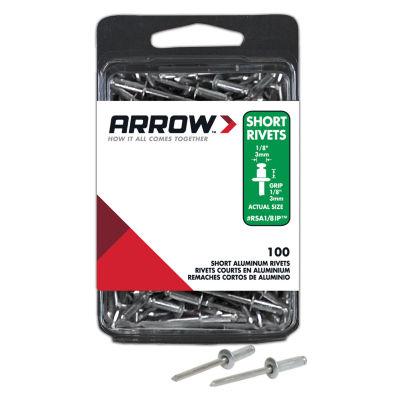 """Arrow Fastener RSA1/8IP 1/8"""" Short Aluminum Rivets100 Count"""
