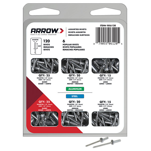 Arrow Fastener RK6120 Rivet Kit 120 Piece