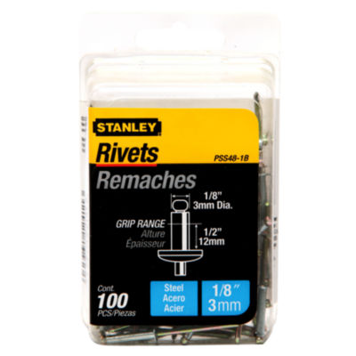 Stanley Hand Tools Pss48-1B 1/8IN X 1/2IN Steel Rivets 100 Count
