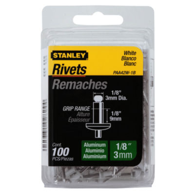 "Stanley Hand Tools Paa42W-1B White 1/8"" X 1/8"" Aluminum Rivets 100 Count"""
