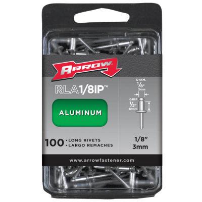 """Arrow Fastener RLA1/8IP 1/8"""" Long Aluminum Rivets100 Count"""""""