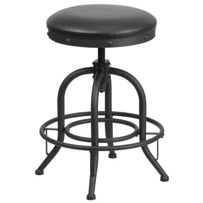 24'' Counter Height Stool with Swivel Lift Leather Seat