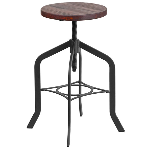 24IN Counter Height Stool with Swivel Lift Wood Seat