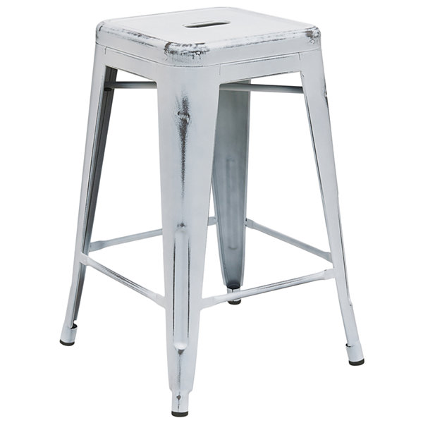 24IN Backless Distressed Metal Indoor/Outdoor Backless Counter Height Barstool