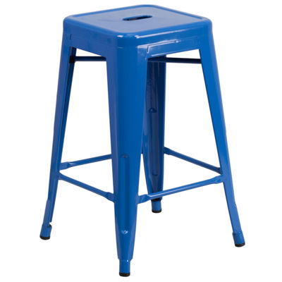 24'' High Backless Metal Indoor/Outdoor Counter Height Stool with Square Seat