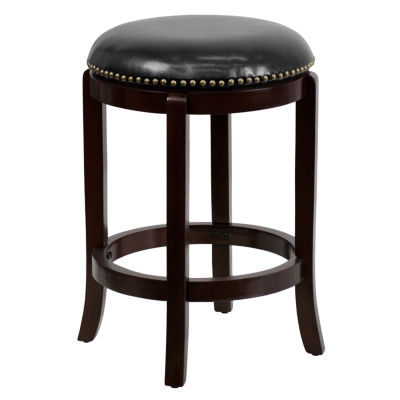 24'' High Backless Wood Counter Height Stool with Leather Swivel Seat