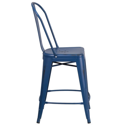 24'' High Distressed Metal Indoor/Outdoor Counter Height Stool with Back
