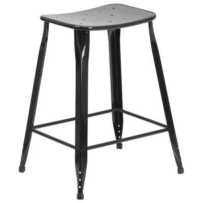 24'' High Metal Indoor/Outdoor Counter Height Saddle Comfort Stool