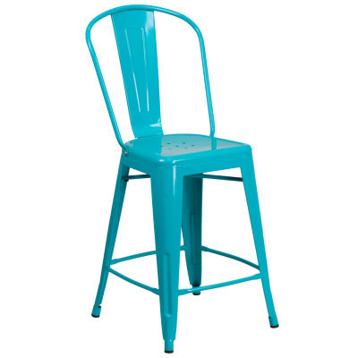 24'' High Metal Indoor/Outdoor Counter Height Stool with Back