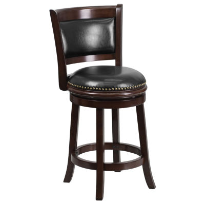 24'' High Wood Counter Height Stool with Leather Swivel Seat