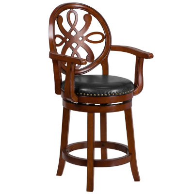 26IN Brandy Wood Counter Height Stool with Arms and Faux-Leather Swivel Seat